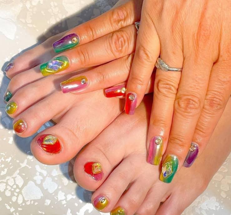 Tiny Decorations on Long Japanese nails 2022