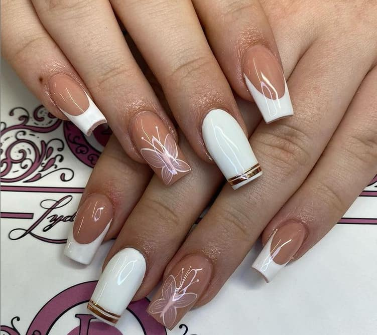French Manicure with Golden Dazzle