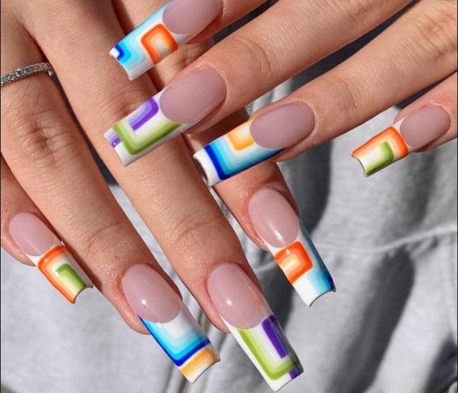 Rainbow. French Manicure 2022