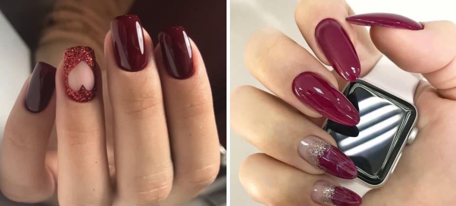 Spring Gel Nails 2022: Wine Red Hue
