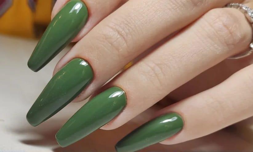 Various Green Shades. Summer Nails 2022 Coffin