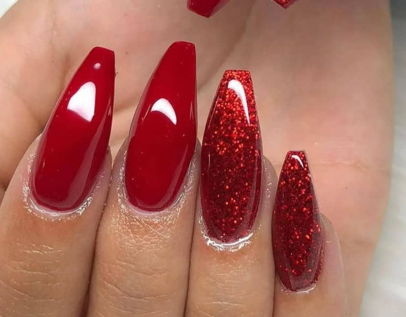 Red and Gray Playful Coffin Nails 2022