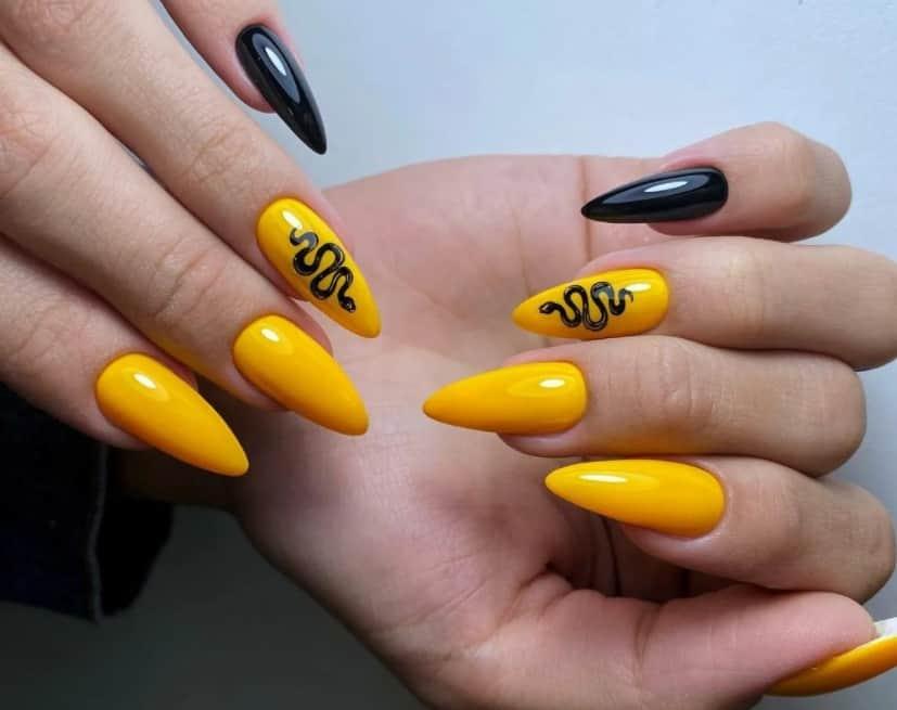 Lemon Yellow Long Acrylic Nails 2022