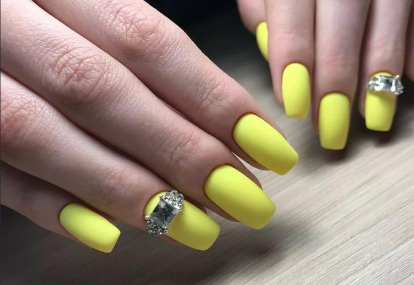Almond Yellow Long Acrylic Nails 2022