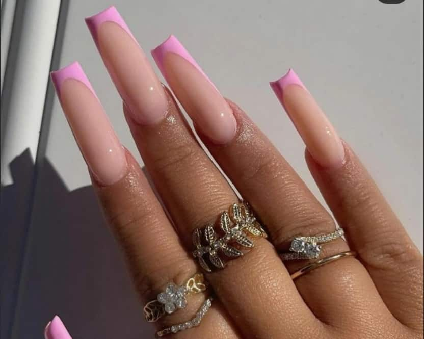French Summer Nails 2022 Coffin