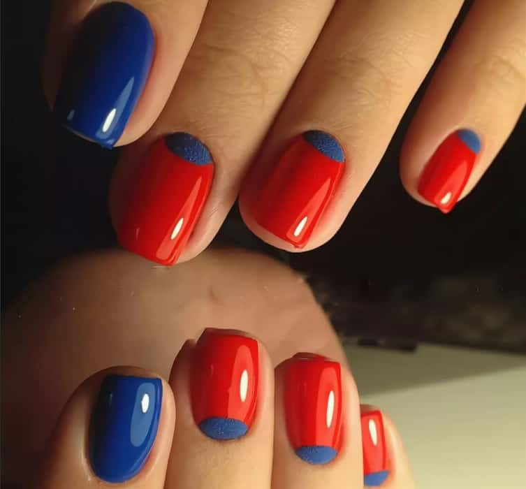 Red Nails Ideas with Blue and Yellow 2022