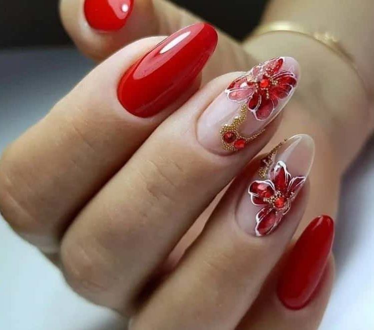 Florals and Red Nails Ideas 2022