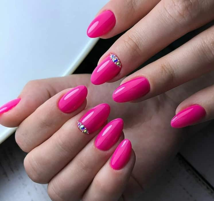 Gemstones. Pink Nails Ideas 2022