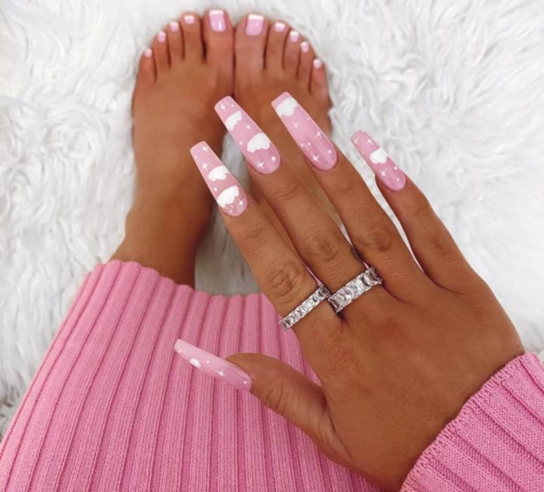 Pink on coffin Nails 2022