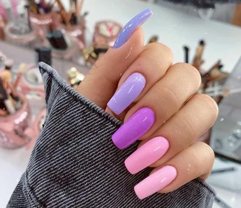 Rectangular pink nails design 2022